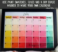 Fun & Creative DIY Paint Chip Calendar Paint chip crafts are fun and cheap. Keep track of your hectic schedule with this reusable dry-erase DIY paint chip calendar. It's an easy DIY project! Paint Sample Calendar, Dry Erase Calendar, Paint Sample Art, Custom Calendar, Diy Projects To Try, Craft Projects, Craft Ideas, Diy Ideas, Decor Ideas