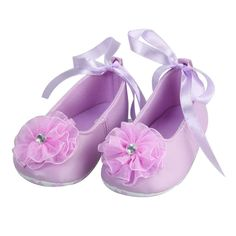 Toddlers Kids Baby Christening Ballet Baby Purple Lace Girl Shoes Gem 0-18 Month