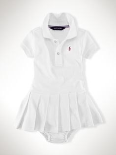 Preppy polo dress with a pretty pleated skirt in our signature cotton mesh, mercerized for added luster.