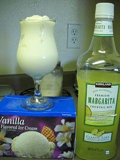 Costco Virgin Margaritas  - 2 cups margarita mix  - 2 cups ice  - 2 cups vanilla ice cream