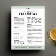 Plantilla de currículum vitae creativos y carta plantilla para Word | Curriculum Vitae para imprimir DIY 4 Pack | Diseño moderno y profesional