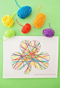 Rainbow Shamrock String Art. Colorful St. Patrick's Day Craft for Kids. #stpatricksday #kidscraft #kidsart #stringart