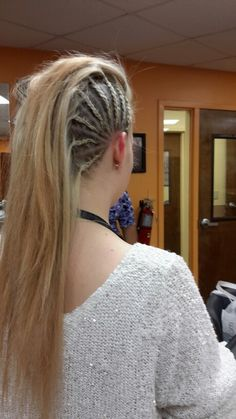 Hair braided into a mowhawk