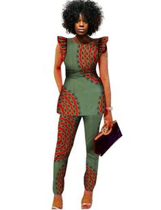 2 Piece Sets Women African Print Dashiki Top and Pants Sets Plus Size - seasondress African Fashion Designers, Latest African Fashion Dresses, African Print Fashion, Africa Fashion, African Print Pants, African Print Dresses, African Dress, African Dashiki, African Attire
