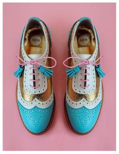 ABO turquoise & gold brogues