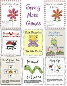 8 Spring math games for end of the year review.  (Common core aligned--1.NBT.2, 1.NBT.3, 1.NBT.4, 1.NBT5, 1.NBT.6, 1.OA.1, 1.OA.5)