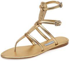 Prada Shoes for Women at Neiman Marcus. Prada Flat Metallic Thong Gladiator  Sandal ...