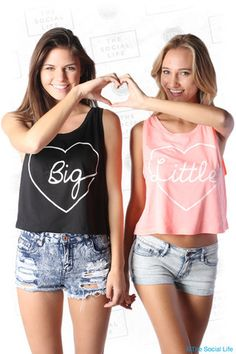 Perfect Big Little Reveal shirts! Multiple colors!  Big:http://shop.thesociallife.com/collections/big-little-collection/products/script-heart-boxy-tank-big  Little: http://shop.thesociallife.com/collections/big-little-collection/products/script-heart-boxy-tank-little