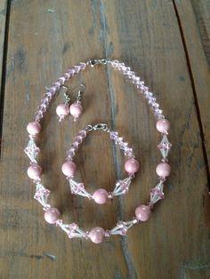 Jewelry set rose with Swarovski beads