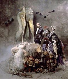 Jim Henson with creatures from The Dark Crystal