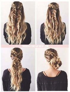 Coiffure : 2 braids, 3 ways!… - : Coiffure : 2 braids, 3 ways! Messy Hairstyles, Pretty Hairstyles, Hairstyle Ideas, Simple Braided Hairstyles, Wedding Hairstyles, Bun Hairstyle, Protective Hairstyles, Hair Extension Hairstyles, Cute Blonde Hairstyles