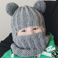 This Pin was discovered by Ger Waldorf inspired winter and snow hat. Hand knitted hoodie / balaclava hat for baby, toddler, child. This is a 4 page pdf written p Knit Baby Sweaters, Knitted Baby Clothes, Baby Hats Knitting, Crochet Baby Hats, Crochet Beanie, Loom Knitting, Knitted Hats, Knit Crochet, Free Knitting