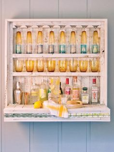 Hanging Bar #  Outdoor Storage Tips # This hanging bar is a great small space solution for outdoor entertaining.