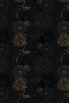 Download premium image of Hand drawn black and gold flower pattern on a dark background by Benjamas about black and gold, background black and gold, black and gold floral patterns, black and gold floral, and background 2405408