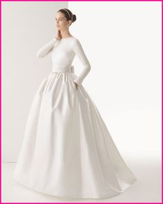 Free Shipping Full Sleeve Duchess Satin BallGown With Side Pockets Bridal Dresses , Wedding Dresses 2014 278 / CORCEGA $428.00