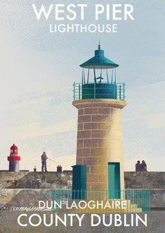 Dun Laoghaire West Pier Lighthouse - Lighthouses of Ireland - Ireland Posters. Lighthouse Sketch, Lighthouse Art, Ireland Beach, Dublin Ireland, Dublin Travel, Ireland Travel, Architecture Ireland, Walking In Sunshine, Nautical Art