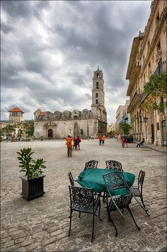 Cuba-Old Protestant church in the square.