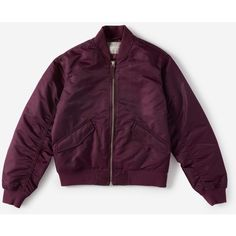 Everlane Women's Bomber Jacket ($80) ❤ liked on Polyvore featuring outerwear, jackets, nylon bomber jacket, nylon jacket, bomber jackets, purple jacket and style bomber jacket