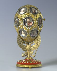 """Faberge Egg 1913 - """"Romanov Tercentenary Egg"""". Nicholas II's gift to his wife. Currently in Moscow."""