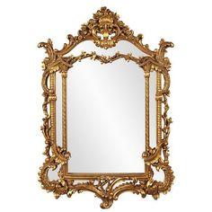 Howard Elliott Arlington Gold Baroque Mirror (36.495 RUB) ❤ liked on Polyvore featuring home, home decor, mirrors, antique gold, decor, filler, gold mirror, baroque home decor, antique gold mirror and howard elliott