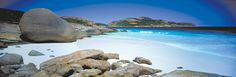 Great South West Edge - Tucked away in the lower corner of Western Australia, this area stretches from Busselton to Cape Arid National Park and includes stunning white beaches, wildflowers, wetlands, towering forests and limestone caves.    Photo: Lucky Bay in Cape Le Grand National Park