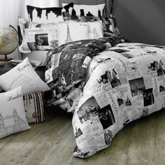 Buy Passport London and Paris Reversible Full/Queen Duvet Cover Set from Bed Bath & Beyond