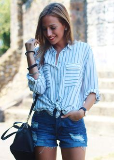 Camisa Boyfriend   Looks and shoes