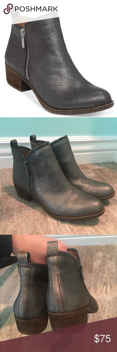"""NWOT Lucky brand booties Pewter colored """"Bartalino Bootie"""" leather with zippers on both sides of boots!  Extremely comfy.  These are new but have been tried on and walked in house with for less than a minute. :) Macy's are priced at $129. Lucky Brand Shoes Ankle Boots & Booties"""