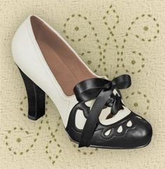 Aris Allen 1930s Black & Ivory Suede Sole Heeled Oxford