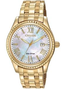 Citizen Ladies DRIVE AML Date Watch - Large Mother of Pearl Dial - Gold-Tone