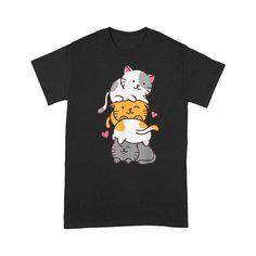 Cats Cute Kitty Pile Anime Kawaii Neko - Standard T-Shirt - M / Black