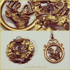 c1900 14k Elks brooch & pendant. Love the lily pads and green eye.  $695 & $295. #giltjewelry #antique #gold #elks #deer #nature #handsome