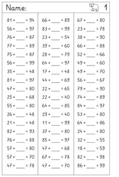 here in the number space to 100 placeholder tasks without transition . and a few task collections, the colorful mixed task types First Grade Math Worksheets, English Grammar Worksheets, School Worksheets, 1st Grade Math, Worksheets For Kids, Math Sheets, Math For Kids, Teaching Materials, Elementary Math