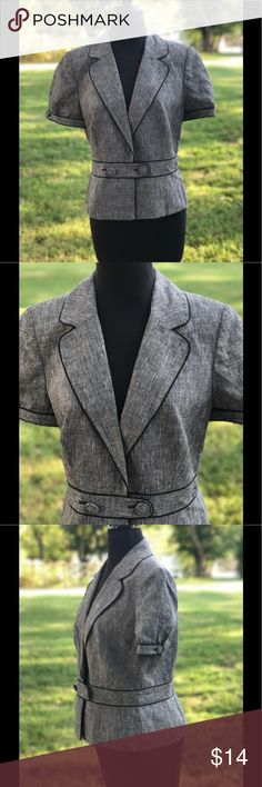 Ann Taylor Short Sleeve One Button Blazer Short sleeve one button blazer with a button on each sleeve. Made of 100% linen and the lining is made of 100% acetate. Ann Taylor Jackets & Coats Blazers