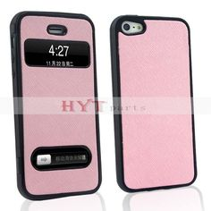 Pink Elegant Plastic Folio Flip Stand Case With Caller ID Window For iPhone 5 Comprehensive protection against scratches,dirt,dust and shock