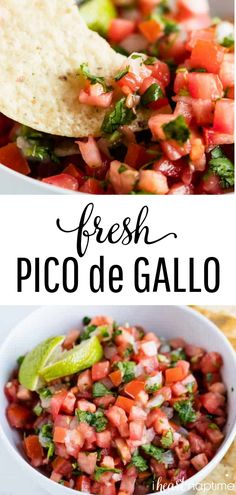 de Gallo Pico de Gallo - Fresh, delicious and so easy to make! Packed with flavor and takes less than 10 minutes. This homemade pico de gallo is the perfect addition to any Mexican dish! Healthy Recipes, Gourmet Recipes, Appetizer Recipes, Mexican Food Recipes, Dinner Recipes, Appetizers, Cooking Recipes, Grilling Recipes, Cooking Time