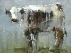 """Barbara Flowers, """"Cow on Blue"""", Oil on Canvas, 30x40 - Anne Irwin Fine Art"""
