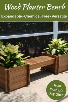 I would so love to receive one of these for Mother's Day! This wood planter is made without chemicals, making this an environmentally safe choice. Its modular design means it can be expanded into larger seating areas. This bench/planter combo is super versatile! It has a reversible surface, the height can be lowered or raised & it can be used as garden bed by leaving out the bottom layer boards! How awesome! She would love it! #ad #garden #gardening #deck #patio #planter #bench…