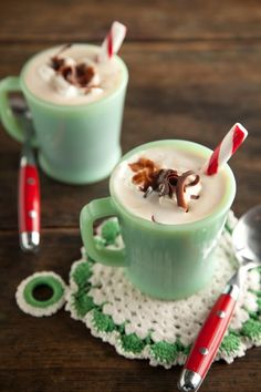 peppermint chocolate coffee...1T choc. syrup, 2T peppermint syrup or peppermint baking chips, hot coffee, whipped cream