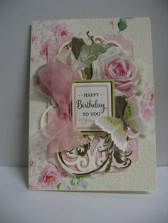 2015 Birthday Card using Anna Griffin papers & die cuts.  By Sandi Beecher