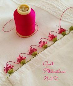 Alıntı Border Embroidery, Ribbon Embroidery, Cross Stitch Embroidery, Embroidery Designs, Embroidery Needles, Bead Crafts, Diy And Crafts, Needle Tatting Tutorial, Crochet Unique