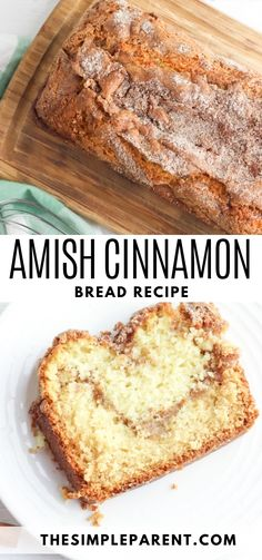 Amish Sweet Bread Recipe, Amish Bread Recipes, Easy Baking Recipes, Banana Bread Recipes, Best Amish Recipes, Easy Sourdough Bread Recipe, Cinnamon Swirl Bread, Cinnamon Amish Bread, Cinnamon Swirl Quick Bread Recipe