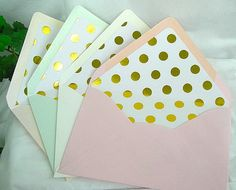 Beautiful Top Quality Premium Matte Envelopes Lined with Stunning Foil Dot Liners    Modern Vintage    Durable 80 lb premium Matte Card-stock