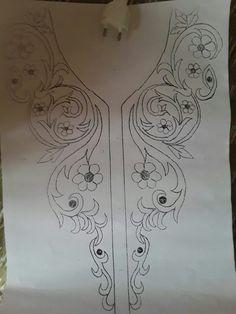 neck line art work এর ছবির ফলাফল Kurti Embroidery Design, Embroidery Neck Designs, Tambour Embroidery, Hand Work Embroidery, Hand Embroidery Patterns, Embroidery Dress, Beaded Embroidery, Embroidery Stitches, Sewing Patterns