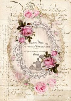 Cottage Chic Roses Sign Framed Print on Wood by Debi Coules - Debi Coules Romantic Art Vintage Labels, Vintage Ephemera, Vintage Cards, Vintage Paper, Vintage Postcards, Floral Vintage, Vintage Shabby Chic, Vintage Flowers, Vintage Prints