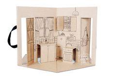 Fechada, a Minha casinha de boneca parece um livro que a criança pode carregar com sua alça. *** Fermée, Ma m. Paper Doll House, Paper Houses, Paper Dolls, Invitation Pop Up, Pop Up Art, Paper Pop, Cardboard Toys, Kirigami, Book Making