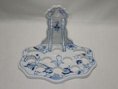 Antique Meissen Porcelain BLUE ONION Kitchen Tools Utensil Holder Wall Rack RARE #MeissenDresdenGermany