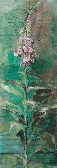 Loose flower paintings by Aine Divine. This compelling foxglove has a limited palette and a sketchbook style. #collage #flower_painting #workshop #artist–workshop #mixedmedia #originalart #ainedivine #foxglove #green #pink