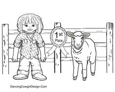 kid with lamb coloring page