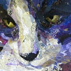Torn paper collage paintings cat Cypress Althea Sassman